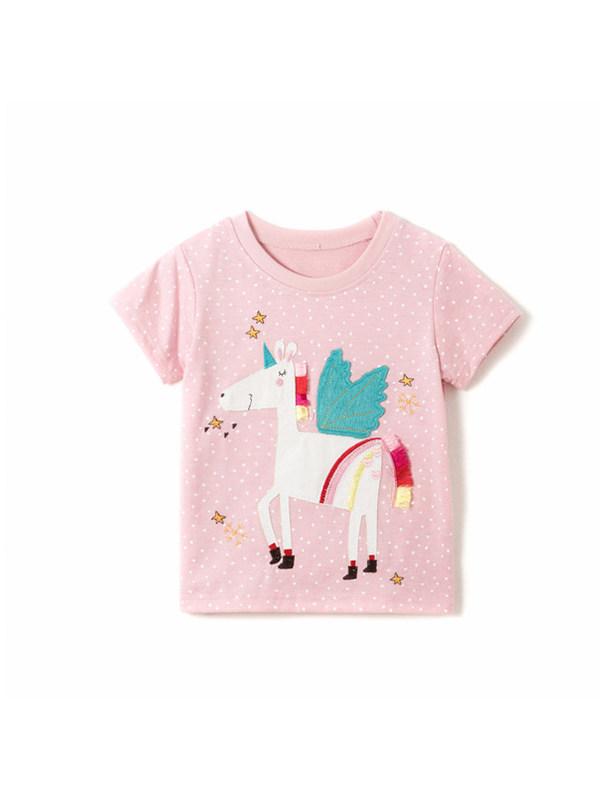 【18M-9Y】Girls Cute Pony Decoration Trend Short Sleeve T-shirt