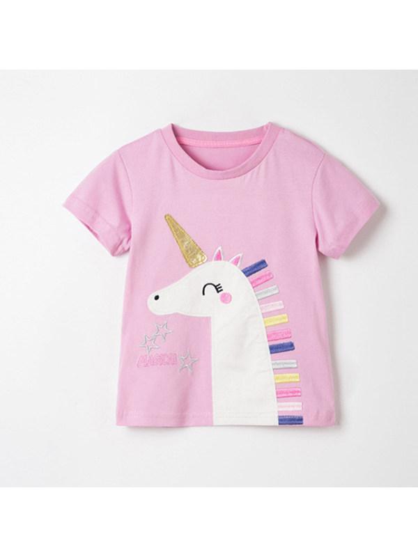 【18M-9Y】Girls Unicorn Embroidered Short Sleeve T-shirt