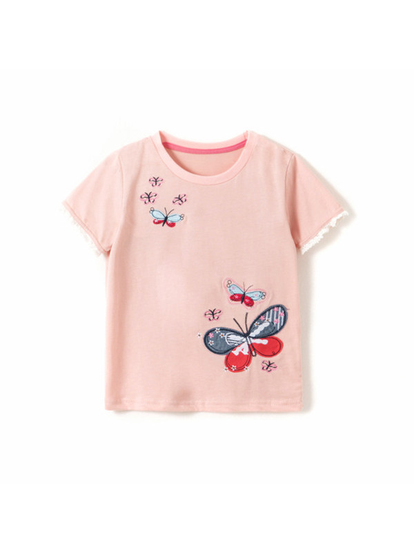 【18M-9Y】Girls' Butterfly Embroidered Short-sleeved T-shirt
