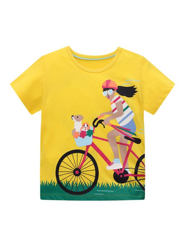 【18M-9Y】Girls Round Neck Cartoon Print Short Sleeve T-shirt