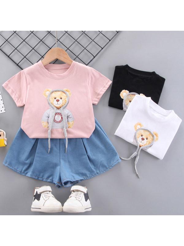 【12M-5Y】Girl Sweet Cartoon Pattern Round Neck Short Sleeve T-Shirt Denim Shorts Set