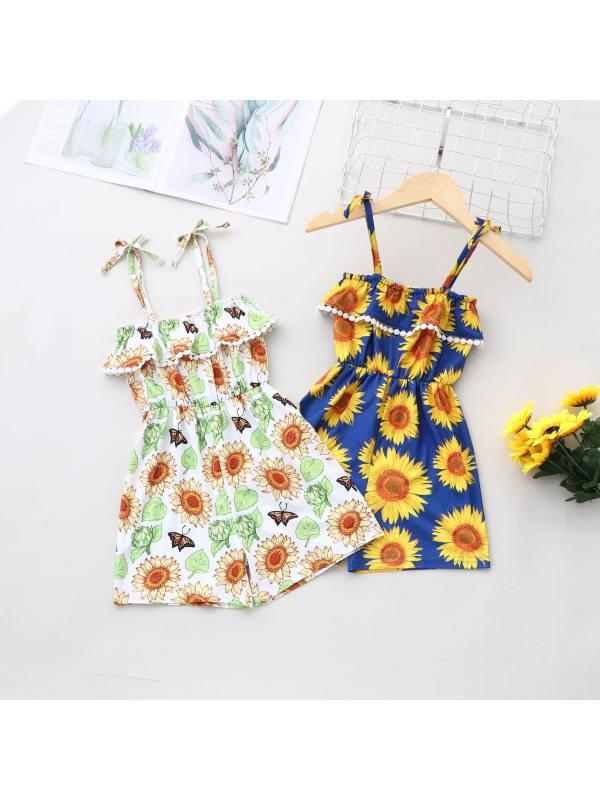 【18M-7Y】Girls Fresh Sweet Sunflower Print Camisole Jumpsuit