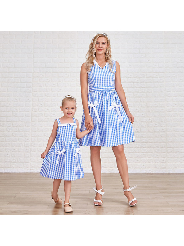 Sweet Blue Plaid Bowknot Mom Girl Matching Dress