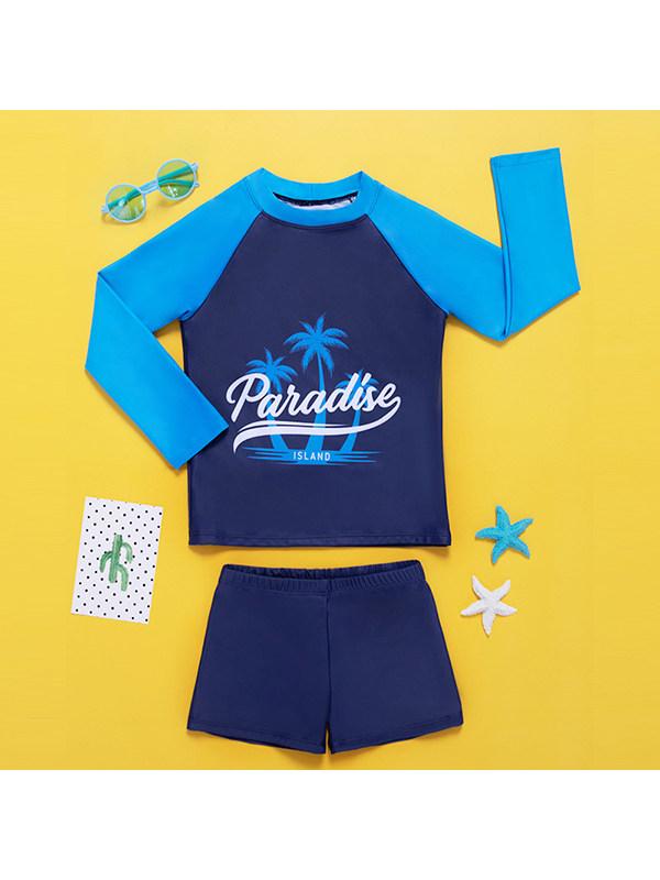 【6Y-13Y】Boys Long Sleeve Cartoon Print Splicing With Shorts Split Swimsuit
