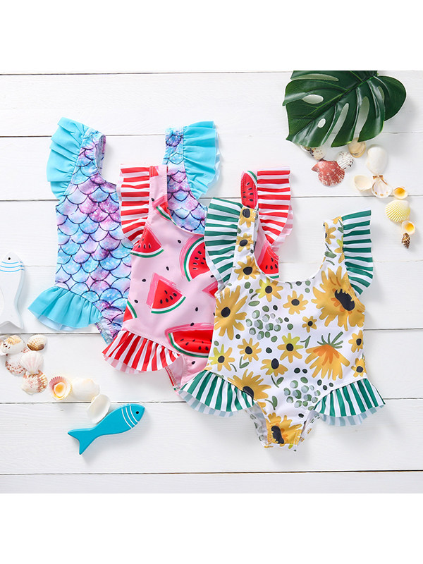 【12M-4Y】Girls Print Lace All-in-one Swimsuit