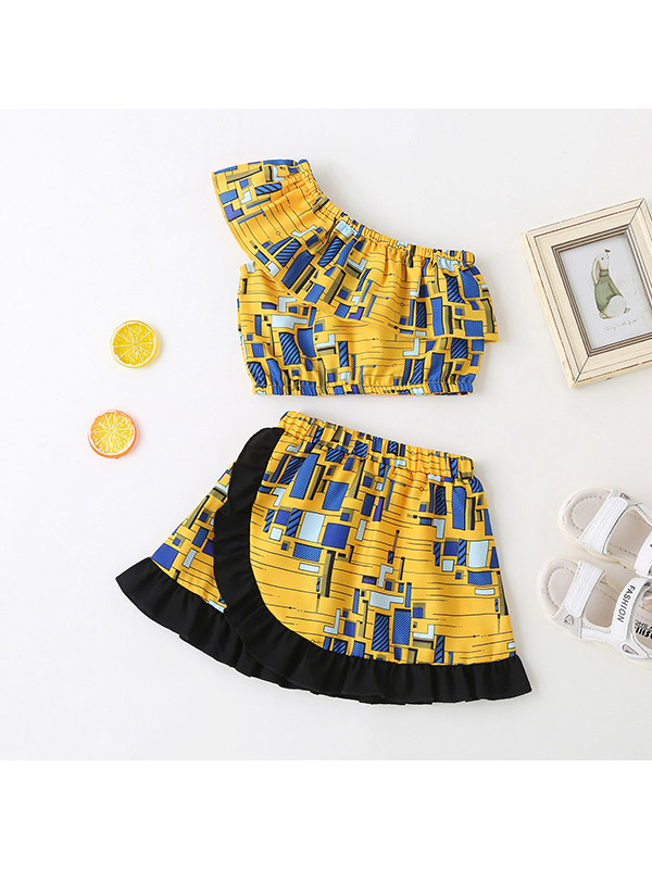 【3M-3Y】Girls' One-shoulder Sleeveless Geometric Print Top With Short Skirt Suit