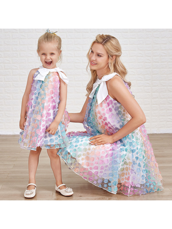 Sweet Colorful Flower Embroidery Bow Mom Girl Matching Dress