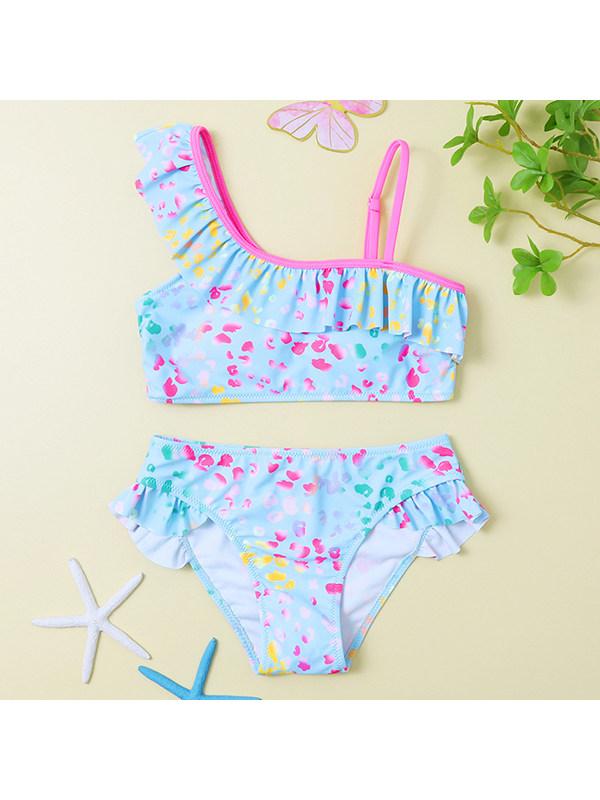 【18M-5Y】Girls Ruffled Print Bikini Swimsuit