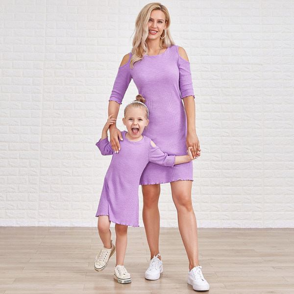 Sweet Purple Round Neck Short Sleeve Off Shoulder Mom Girl Matching Dress