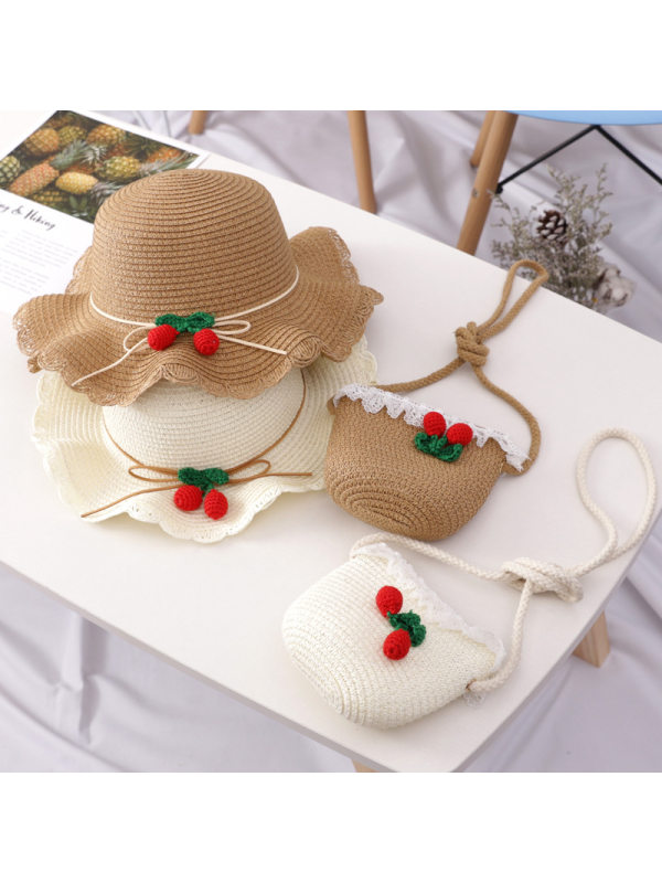 Cute Cherry Lace Bag and Hat Set