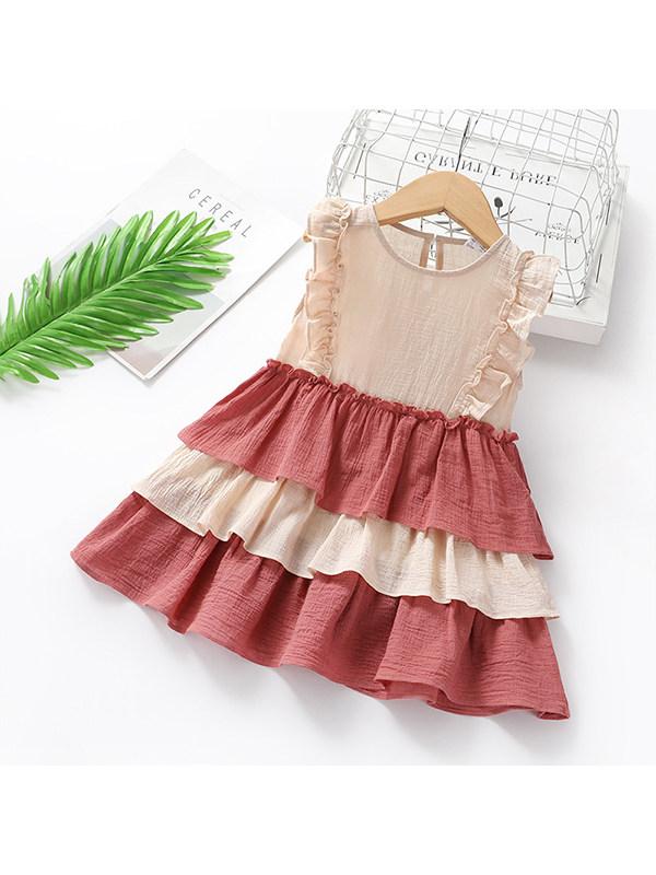 【2Y-11Y】Girls' Hit Color Round Neck Sleeveless Ruffled Cake Skirt