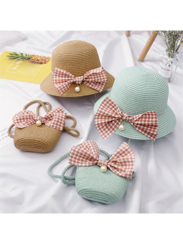 Cute Plaid Bow Bag and Hat Set