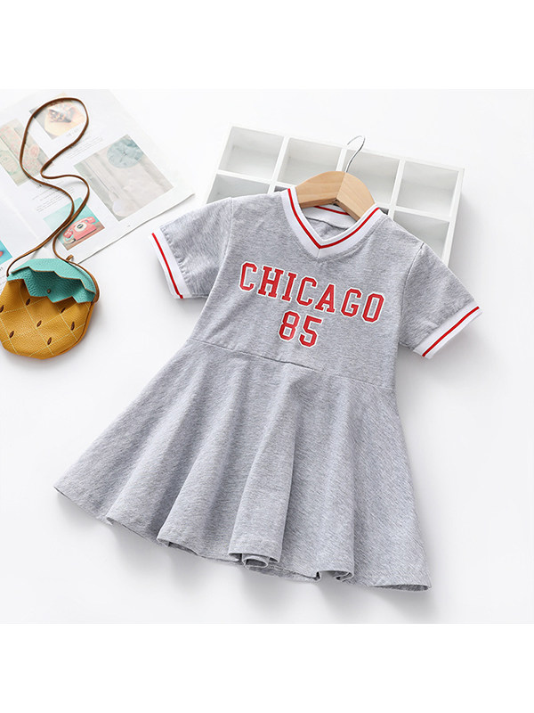 【2Y-9Y】Girls Printed Letter Short Sleeve V-Neck Sports Pleated Dress