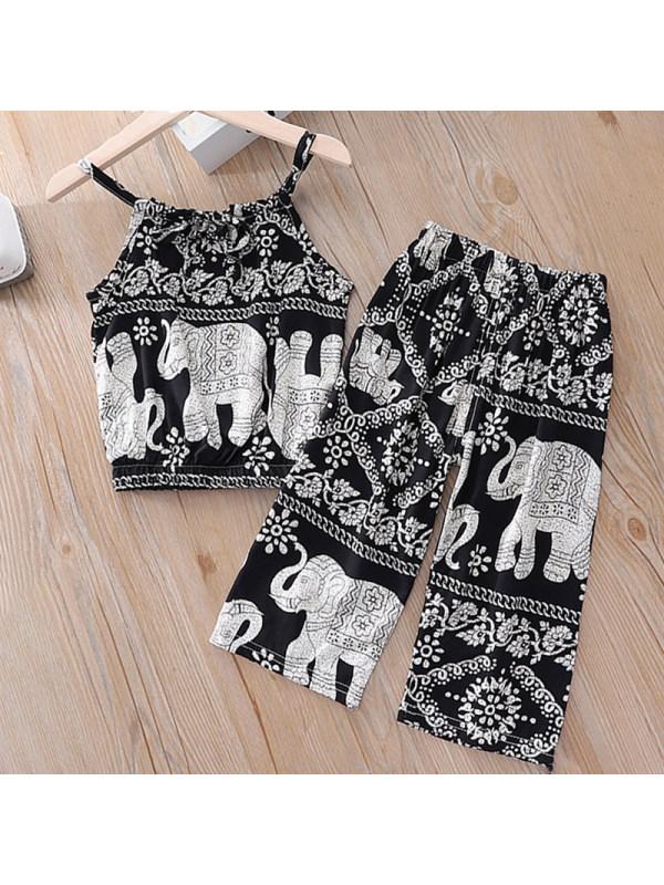【12M-5Y】Girls Sweet Elephant Pattern Top Pants Set