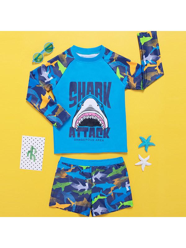 【6Y-13Y】Boys Cartoon Print Raglan Sleeves With Shorts Split Swimsuit