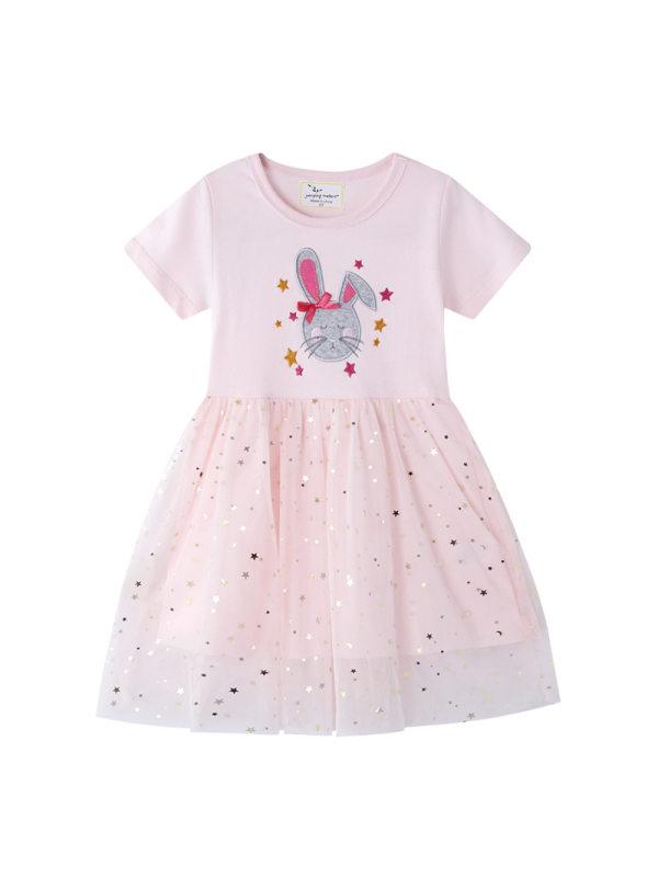 【12M-7Y】Girls Lace Stitching Cartoon Print Dress