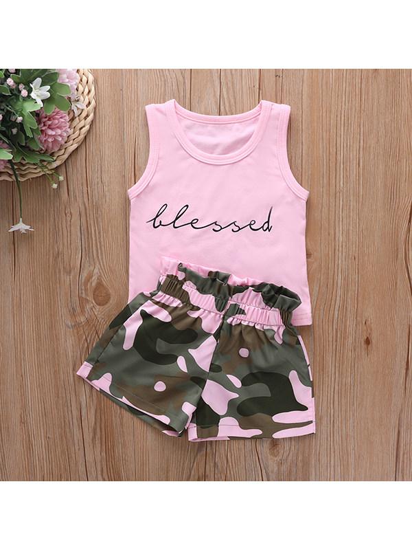 【12M-5Y】Girls Letter Print Vest Top Camouflage Shorts Suit