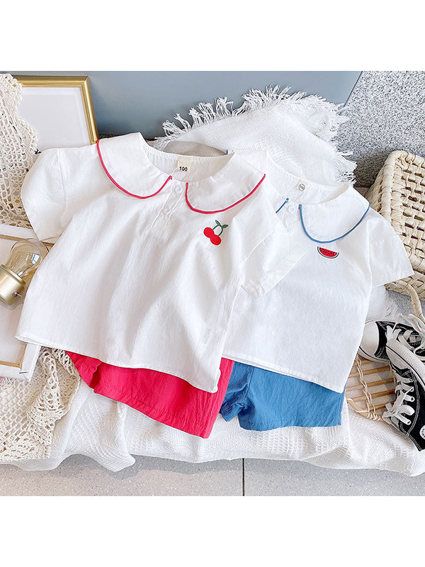 【2Y-9Y】Girls Casual Loose Fruit Print Blouse with Shorts Two-piece Suit