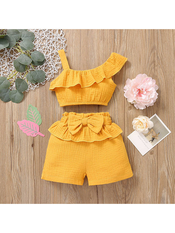 【12M-4Y】Girls Solid Color Sling Top Shorts Two-piece Suit