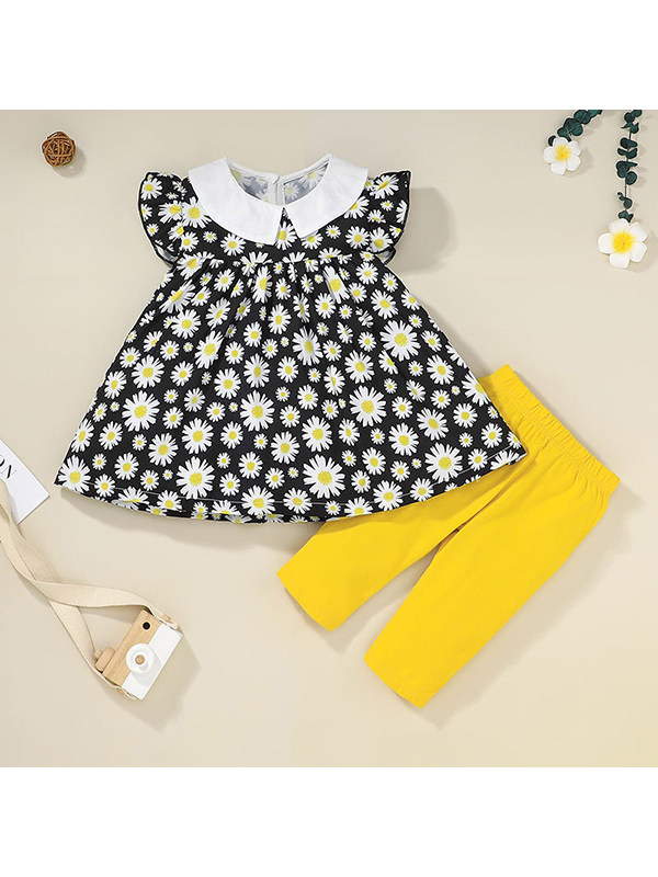【12M-5Y】Girls Lapel Flying Sleeve Printed Top with Solid Color Pants Set