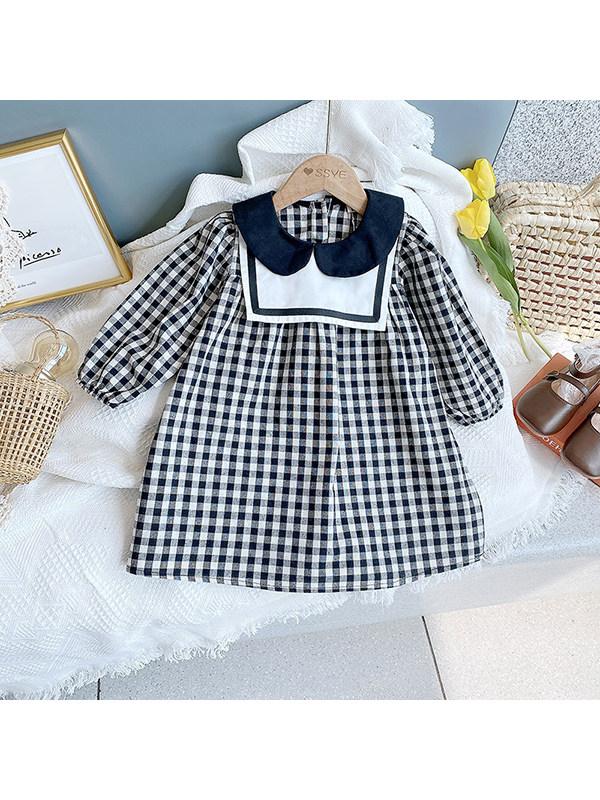【2Y-9Y】Girls Plaid Doll Collar Long Sleeve Dress