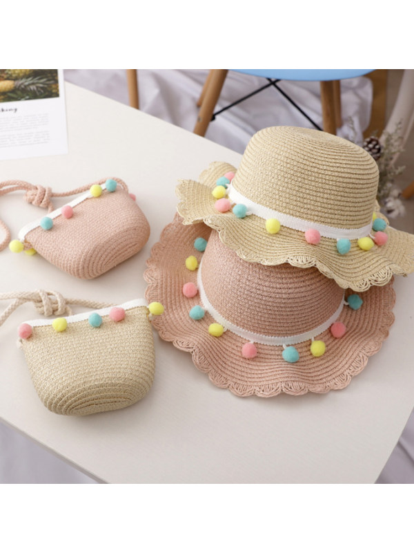 Sweet Colorful Ball Hat and Bag Set
