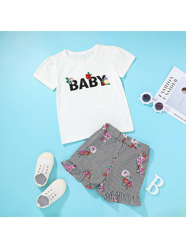【12M-5Y】Girls Round Neck Short Sleeve Letter Print T-shirt with Striped Shorts Set