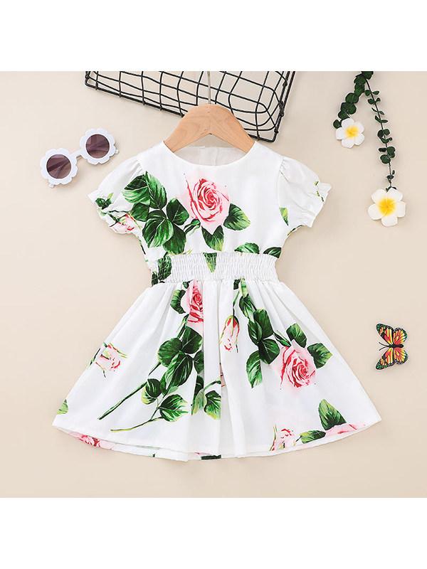 【12M-5Y】Girls Round Neck Short Sleeve Chiffon Dress