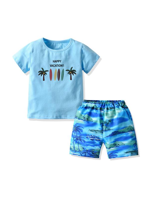 【12M-7Y】Boys Coconut Short Sleeve T-shirt Beach Shorts Two-piece Set