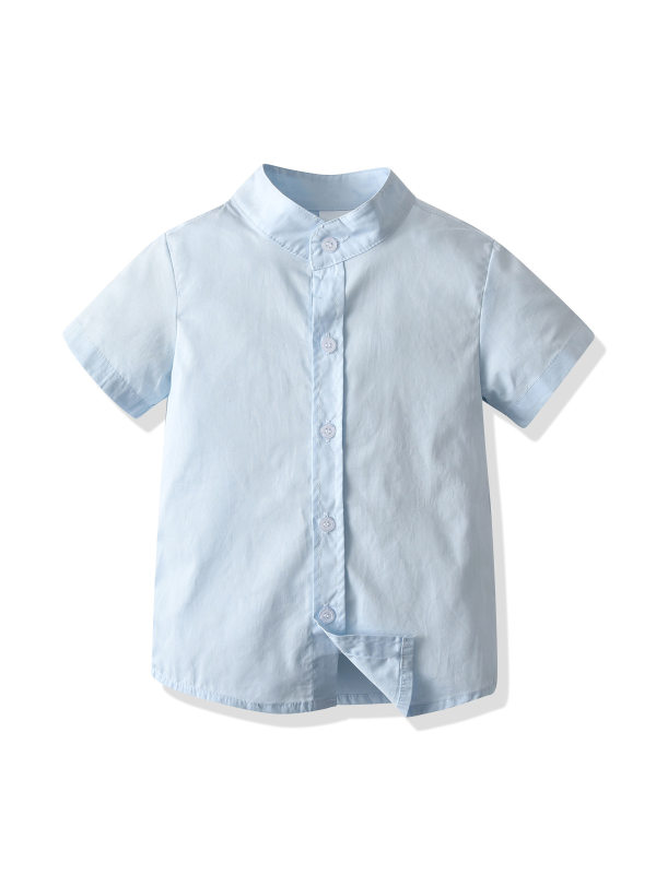 【18M-7Y】Boys Stand-collar Short-sleeved Shirt