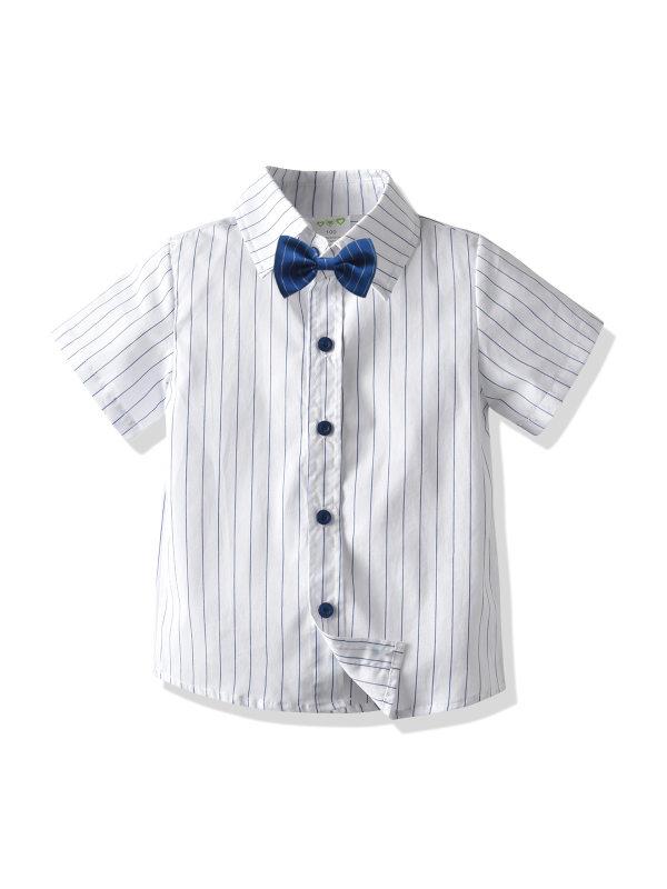 【18M-9Y】Boys Short Sleeve Striped Shirt