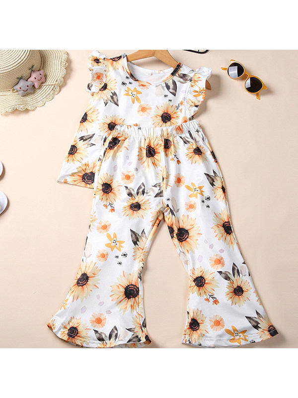 【18M-7Y】Girls Trend Print Flying Sleeve Top Flared Trousers Two-piece Suit
