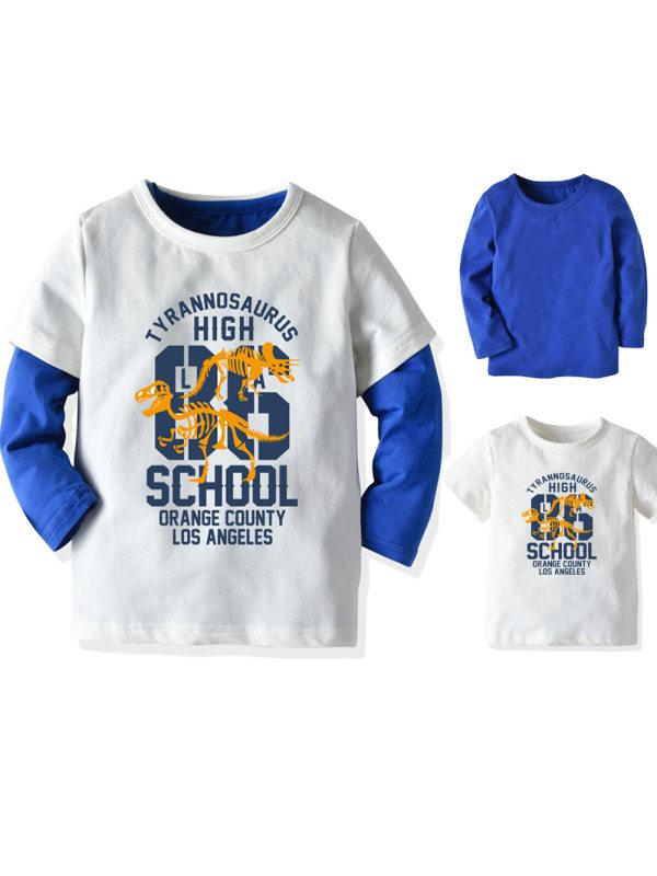 【18M-9Y】Boy Cartoon Print T-shirt Two-piece Suit