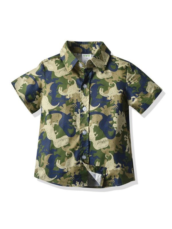 【12M-7Y】Boys Camouflage Cartoon Print Short-sleeved Shirt