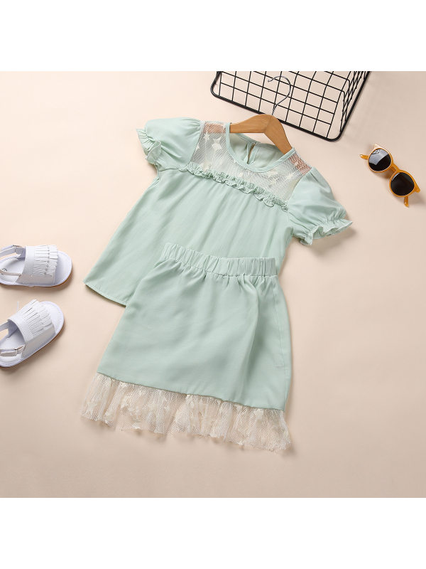【18M-7Y】Girls' Mesh Lace Short-sleeved Blouse And Lace Short Skirt Two-piece Suit