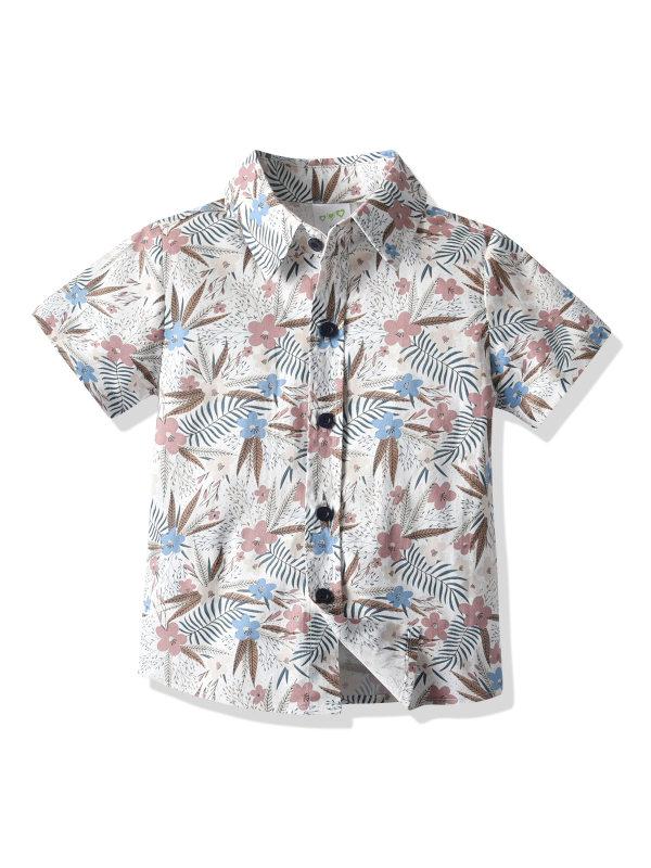 【12M-7Y】Boys Printed Maple Leaf Short Sleeve Shirt