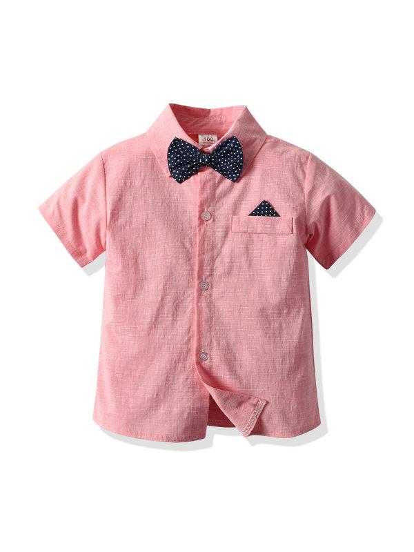 【18M-7Y】Boys Gentleman's Short Sleeve Shirt