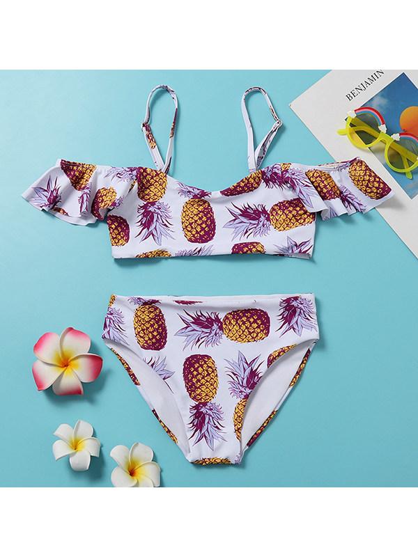 【6Y-13Y】Girls Pineapple Print Split Bikini Swimsuit