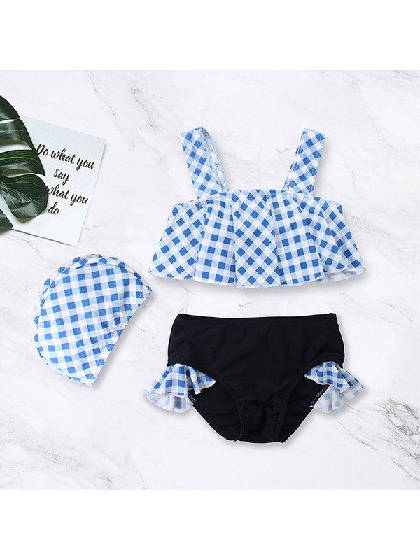【12M-5Y】Girls Split Bikini Suit with Swimming Cap
