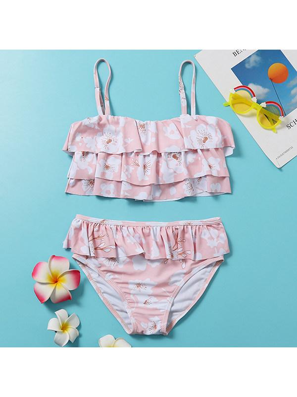 【6Y-13Y】Girls Floral Sling Split Bikini Swimsuit