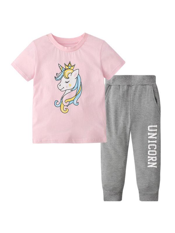【12M-7Y】Girls Cartoon Unicorn Print Short-sleeved T-shirt Two-piece Trousers