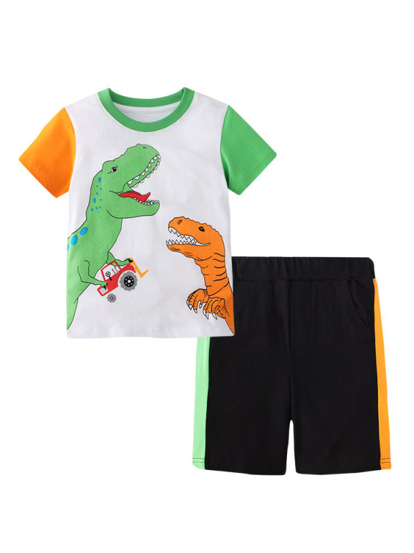 【18M-9Y】Boy's Color Contrast Stitching Cartoon Print Short-sleeved Short Sleeve Two-piece Shorts