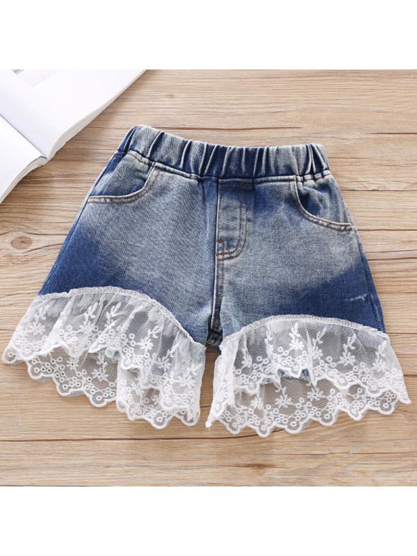 【18M-7Y】Girls Casual Lace Denim Shorts