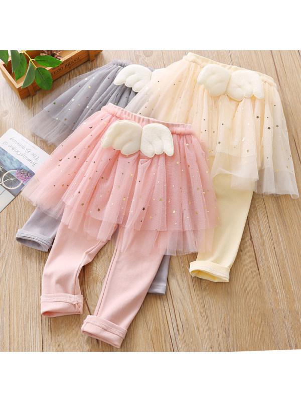 【18M-7Y】Girls Sweet Wings Decorated Mesh Leggings