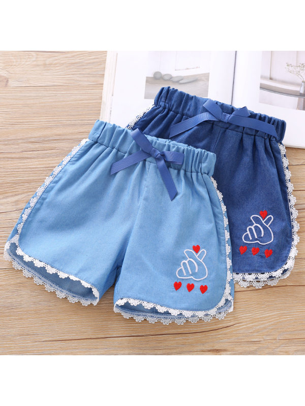 【18M-7Y】Girls Casual Lace Embroidered Denim Shorts