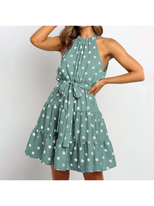 Fashion Polka Dot Print Midi Dress