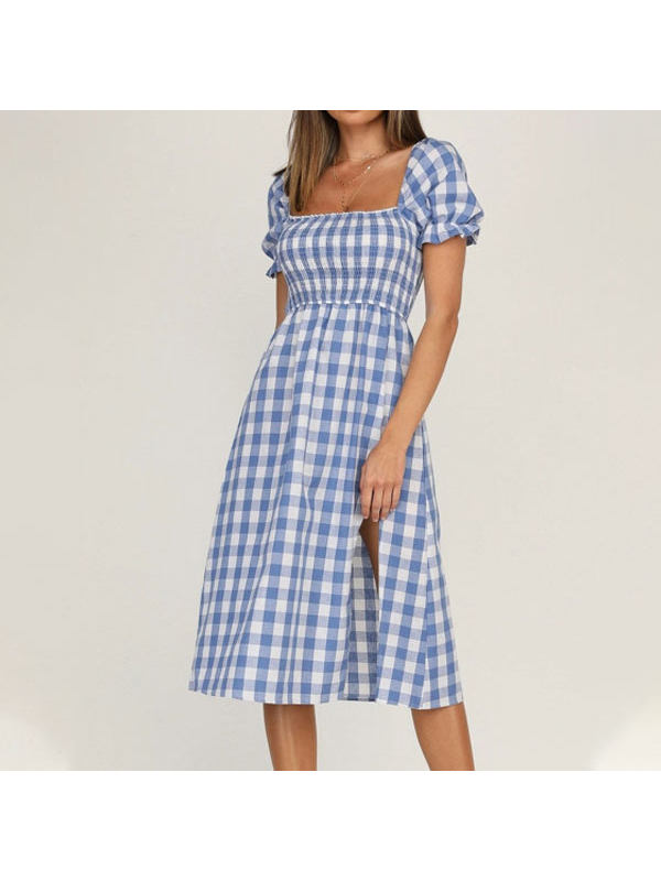 Plaid Short-sleeved Dress With Slit Square Neckline