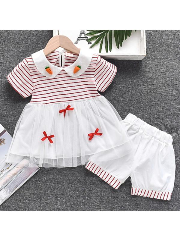 【12M-4Y】Girls Sweet Striped Mesh T-shirt Shorts Set