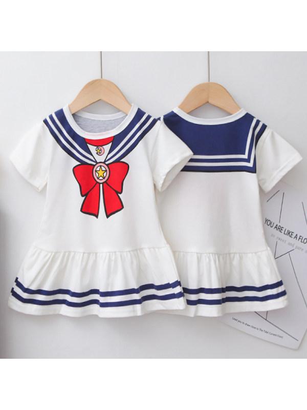 【12M-4Y】Girls Sweet Bow Pattern Short Sleeve Dress