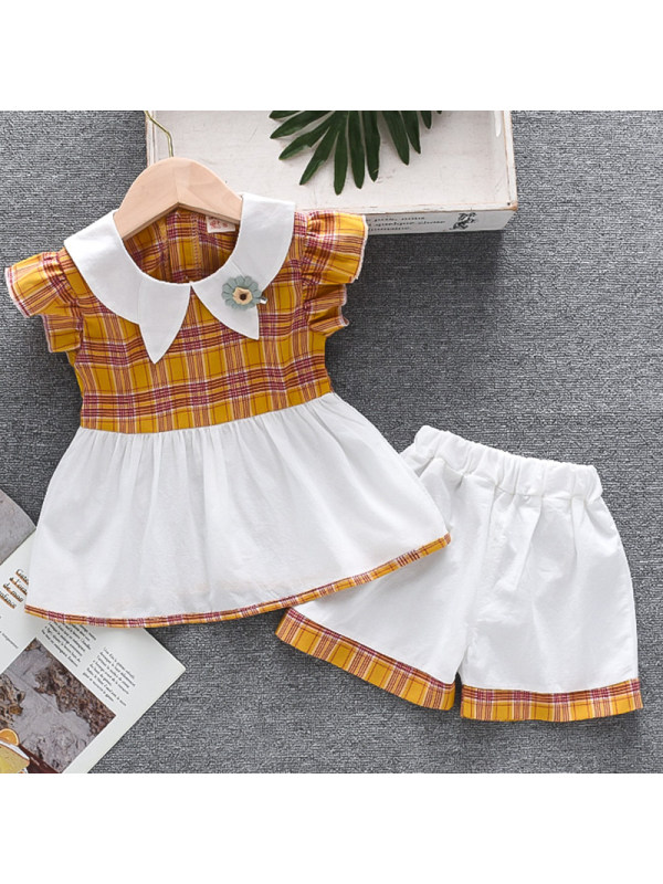 【12M-4Y】Girl Sweet Plaid Short Sleeve Shirt Shorts Set
